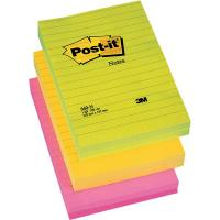 Post-it® Large Note - 102x152 mm - 2 giallo neon, 2 rosa neon, 2 verde neon - righe - 660-NR (conf.6)