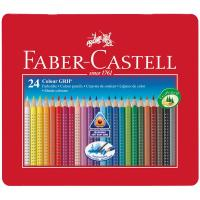 Matite Colorate Acquerellabili Colour Grip Faber Castell - Astuccio Metallo - 112423 (Conf.24)