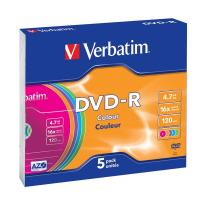 DVD-R Verbatim 4,7 Gb Slim case colour - 16x - 43557 (conf.5)